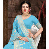 Banarasi Sky Blue Viscose Saree