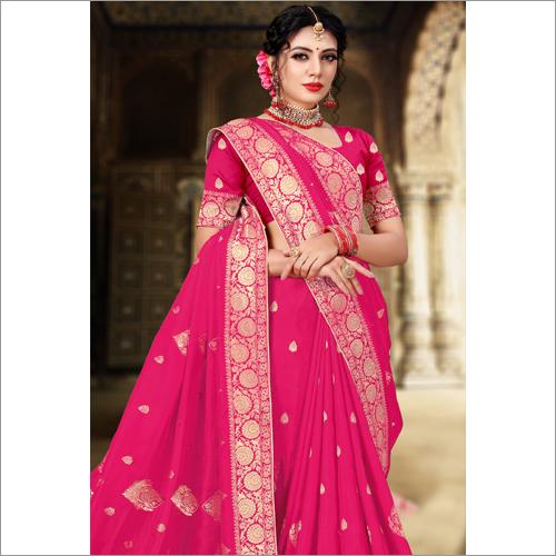 Banarasi Designer Pink  Viscose Saree