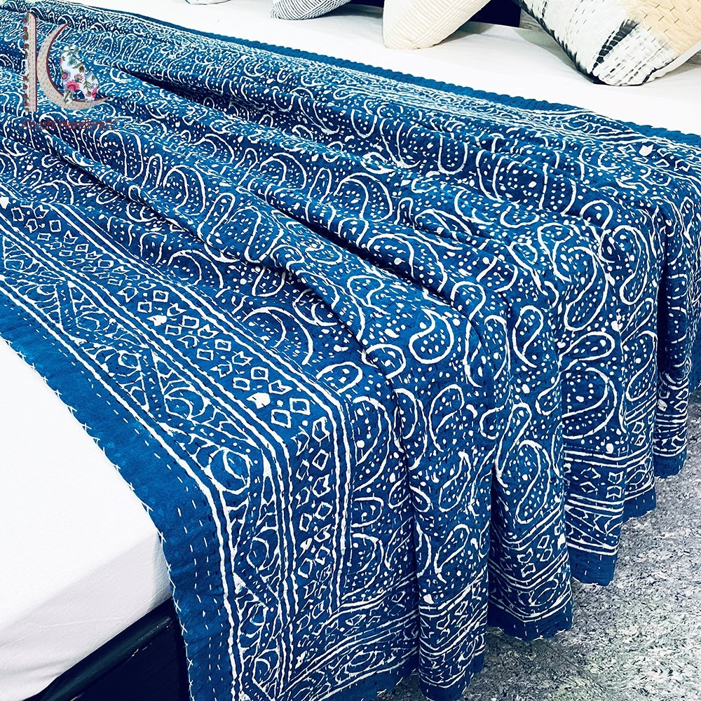 Dabu Print Kantha Quilt Kantha Bed Throw