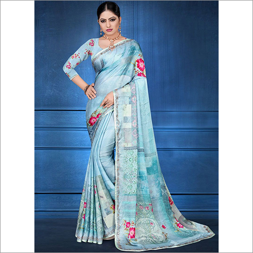 Digital Print Georgette Satin Printed Saree