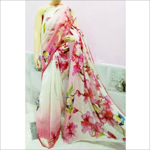 Digital Print Linen Bhagalpur Saree