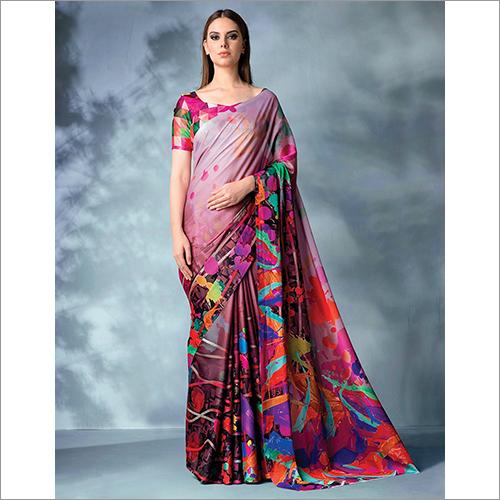 Inara Digital Printed Blush Magenta Saree