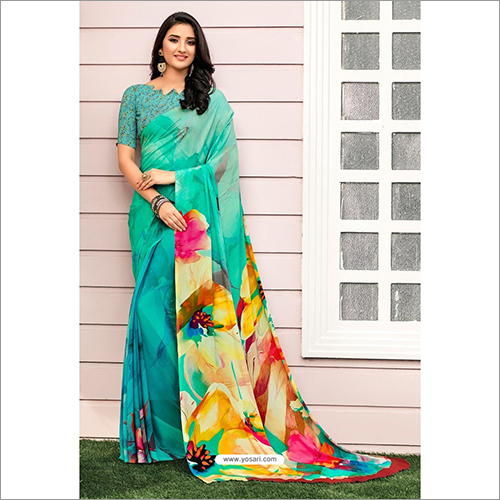 Splendid Aqua Mint Digital Printed Crepe Saree