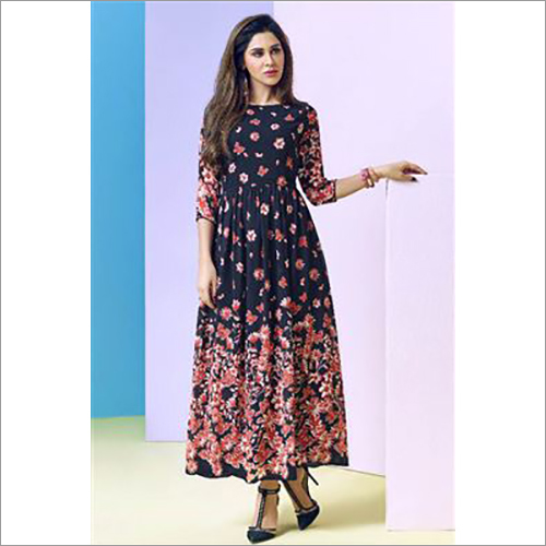 Ladies Latest Printed Satin Kurti