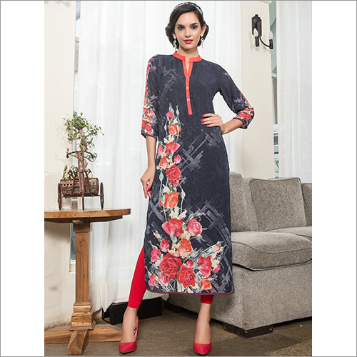 Spirit Dark Grey Printed Kurti