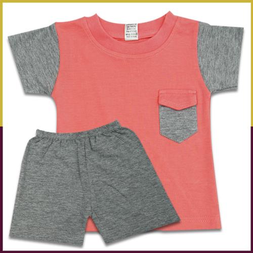 Sumix Orange Baby Round Neck T-Shirt And Shorts