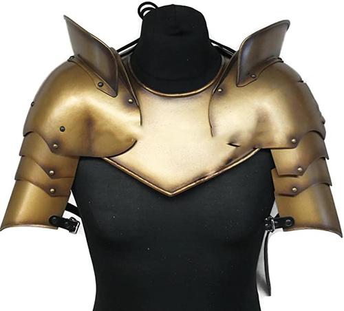 B07DQKNTLZ Medieval LARP Gorget with Pauldrons Shoulder Armour Set