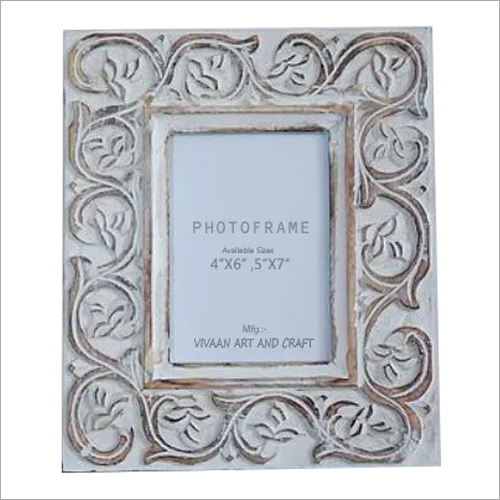 Wooden Handicraft White Washed Wooden Decorative Photo Frame