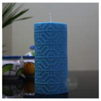 Embossed Pillar Geometry  Turquoiaw Blue