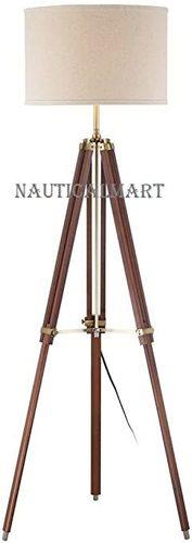 B01KK2GHGS Cherry Finish Wood Surveyor Tripod Floor Lamp by Nauticalmart