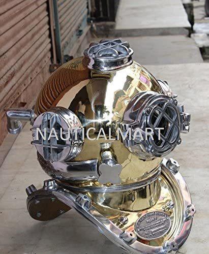 B01KZ95AT6 NauticalMart Antique Brass Scuba Mark V US Navy Deep Sea Diving Divers Helmet