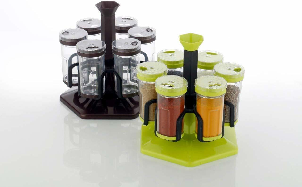 Plastic Revolving Spice Rack Set (Transparent) | 250 ml, Set of 6