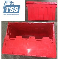 Plastic Moving Crate 62L Plastic Tote Container Box with Hinged Lids
