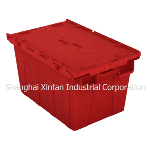 Plastic Packing Crate 62L Tote Container Box with Hinged Lids