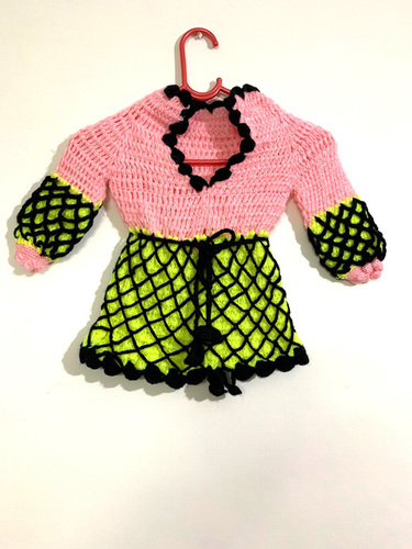 Fluorescent Green And Pink Kids Sweater