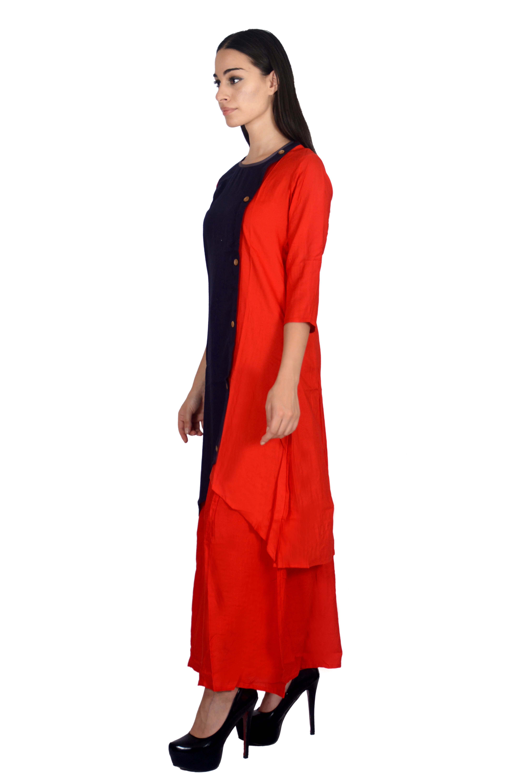 Remtex Women Kurta Blue Red