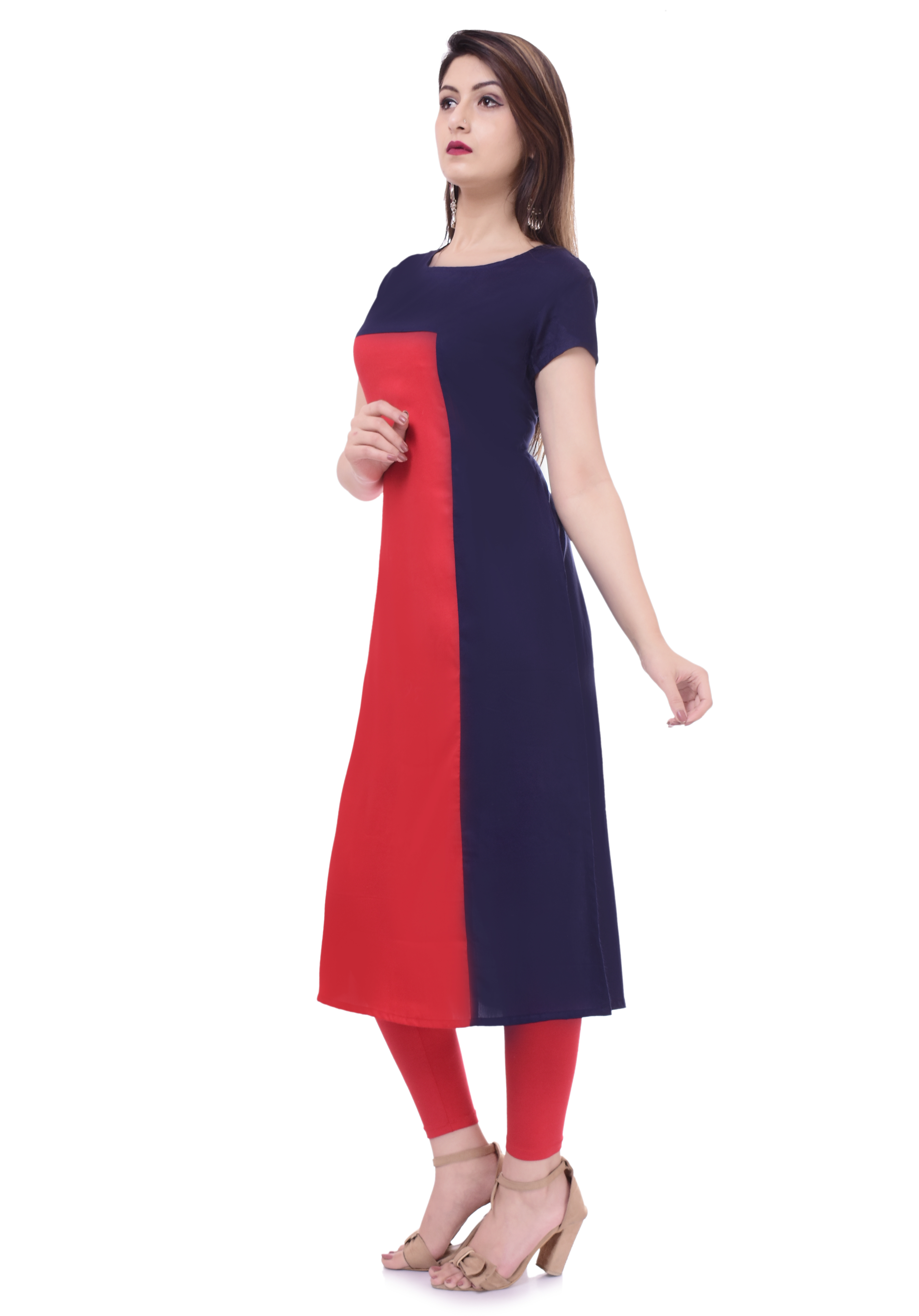 Remtex Women Kurta Blue Red