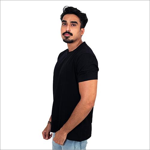 Mens Black Round Neck T-Shirt