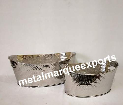 Stainless Steel Hammered Oval Champagne Tub