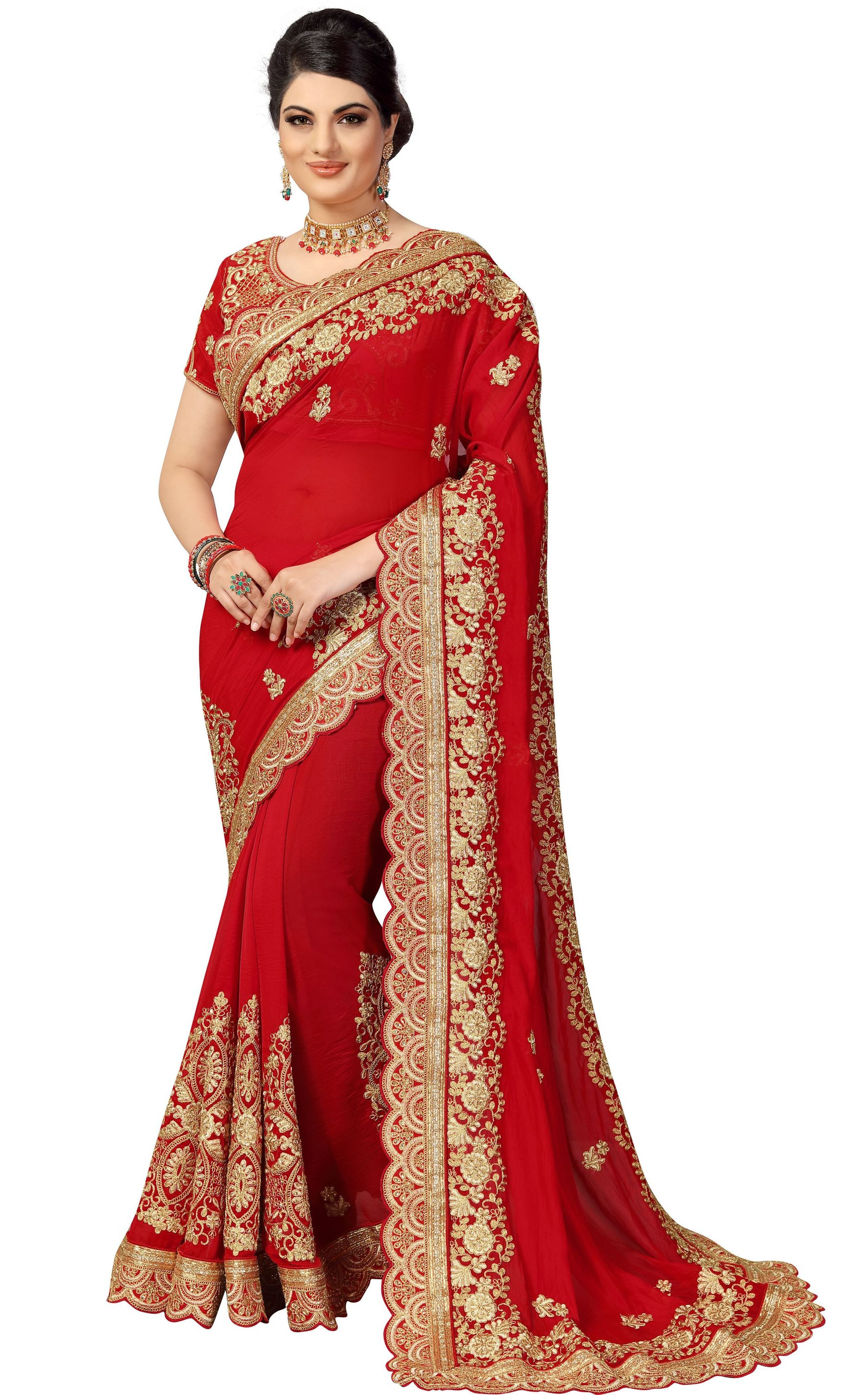 Silk Heavy Embroidery Saree for Bridal