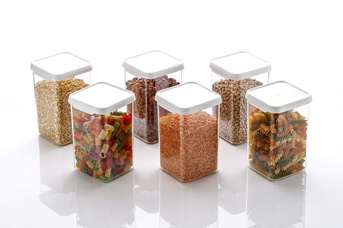 Air Tight Containers Plastic Boxes for Storage Kitchen Container Set, 1100 Ml (PACK OF 6)