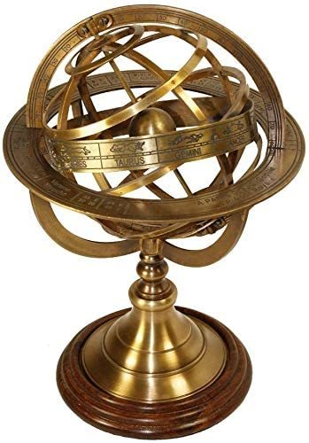 Brass Antique Finish Armillary Celestial Globe with Zodiac Engravings