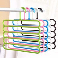 5 Layer Pants Clothes Hanger Wardrobe Storage Organizer Rack (Multi Color)