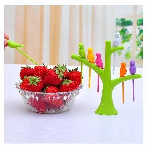 High Quality Plastic Bird Fruit Fork for Vegetable Fruits and Salad Plastic Fruit Fork Set with Stand, 6-Pieces