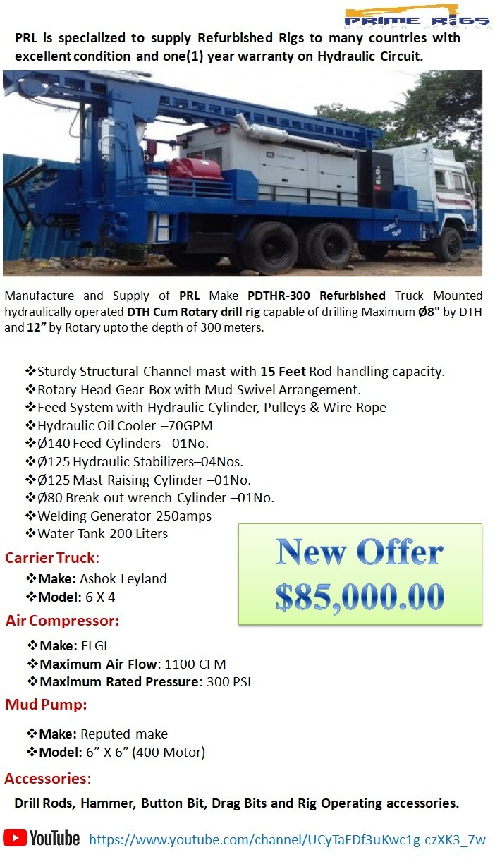 PDTHR-300 Refurbished truck drilling depth up to 300 meters