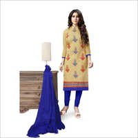Fancy Chanderi Embroidered Dress Material
