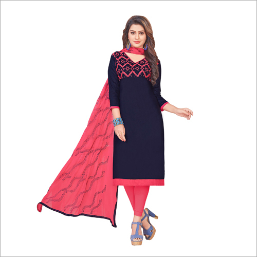 Gless Cotton Embroidered Dress Material