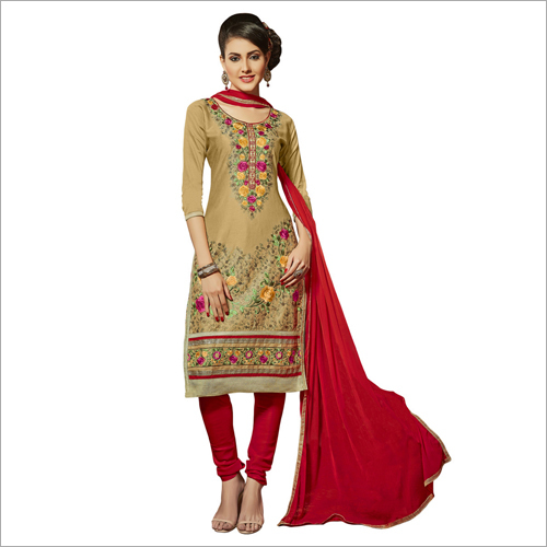 Fancy Glace Cotton Embroidered Suit