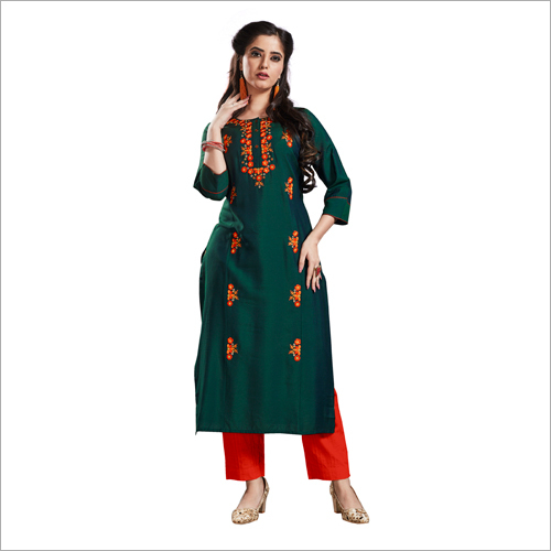Fancy Reyon Cotton Embroidered Kurti