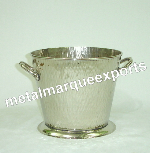 Stainless Steel Rice Hammered Ice Bucket with Handle