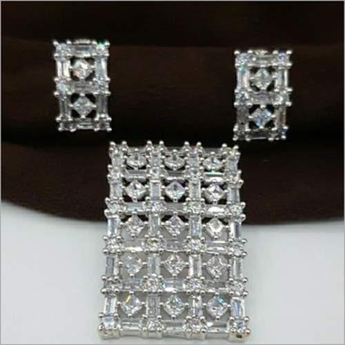 Ladies American Diamond Pendant Set
