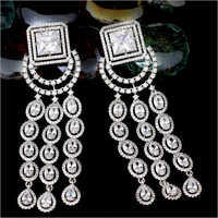 CZ Diamond Earrings Set