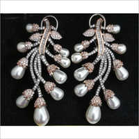 American Diamond Leaf Shape Earrings Set