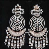 Rose White American Diamond Earrings Set