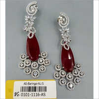Rodium American Diamond Earrings Set
