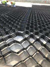 HDPE plastic grass grid pavers with geo fabric used parking lot