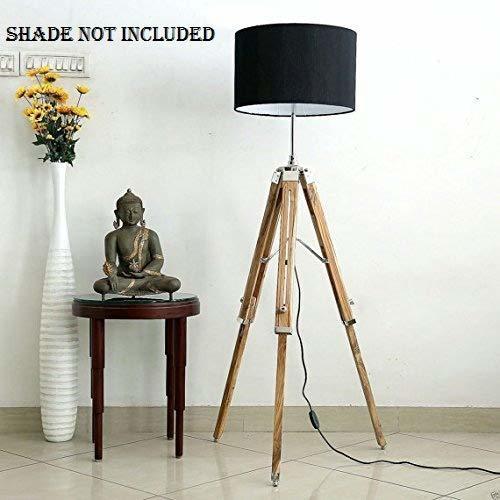 B07QD5HJK3 NAUTICALMART Teak Wood Big Tripod Floor Lamp Stand(62