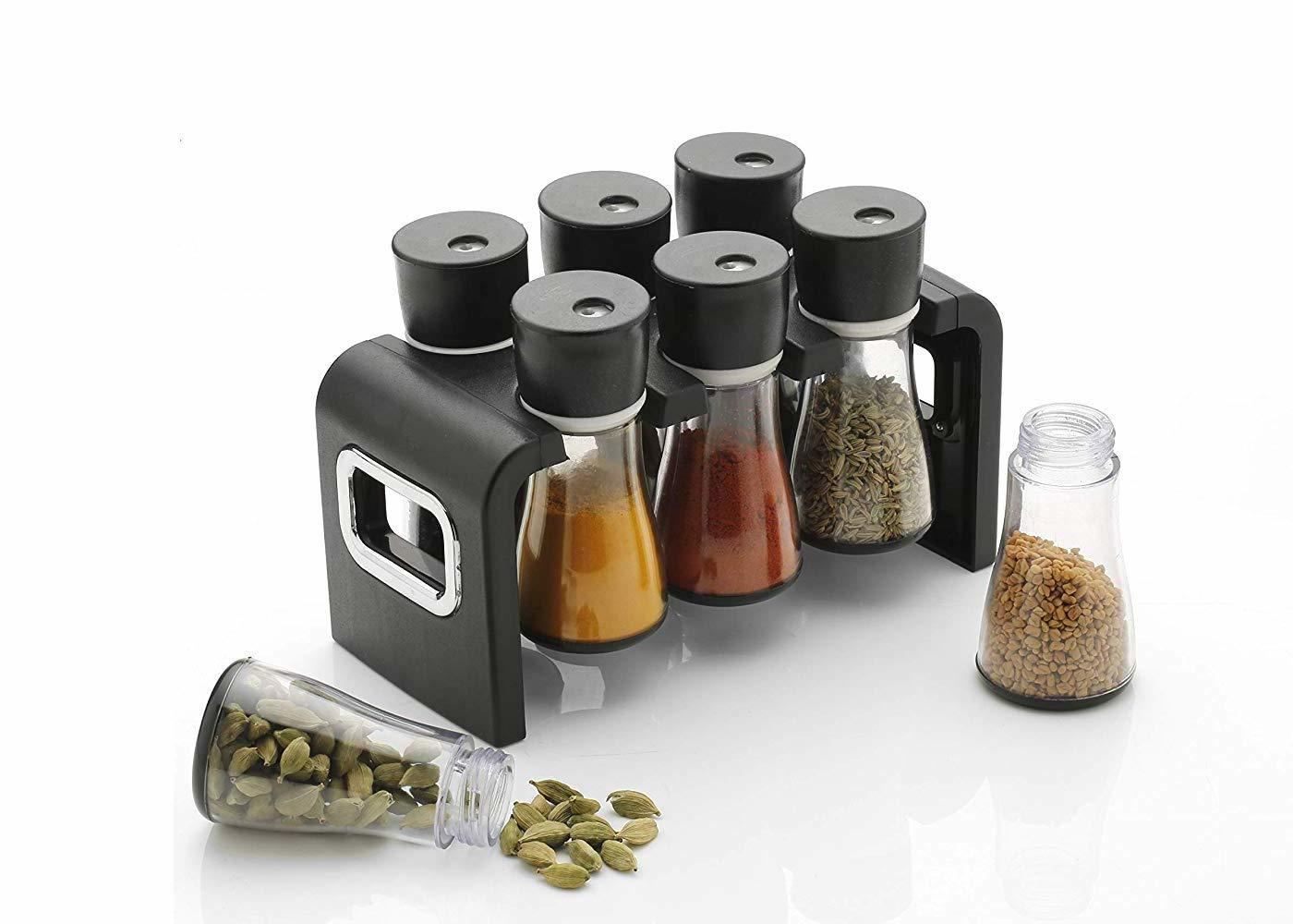 6 Pc Multipurpose Spice Rack Plastic Stackable and Space Savvy Dining Table Spice Rack
