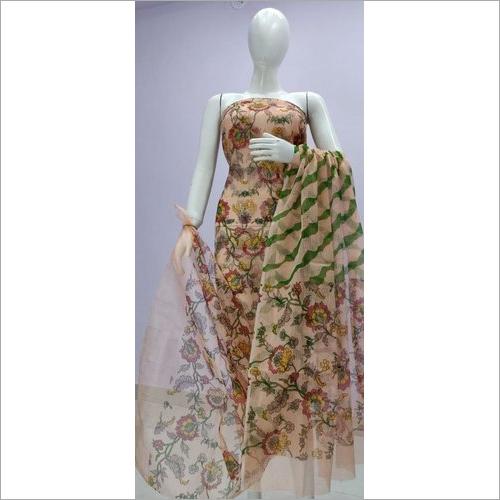 Kota Doria Screen Print Dress Material