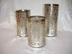 Iron Nickel Plated Candle Holder