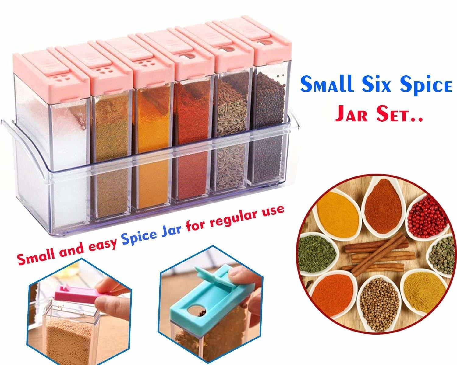 Spice Jar 6 Pcs Set, Easy Flow Storage, Idle For Kitchen- Storage Box Container (Color May Vary)