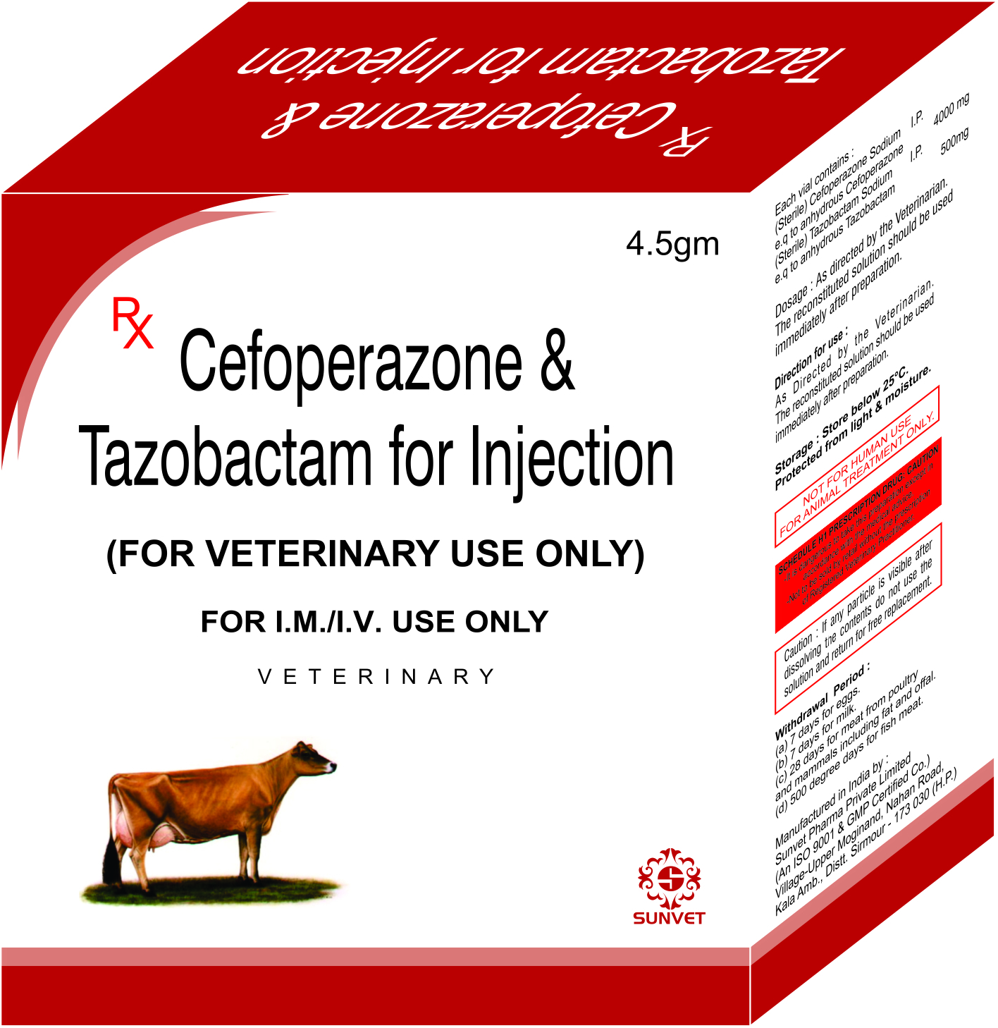 Amoxycillin Sulbactam Injection 4.5 g For Veterinary Use Only