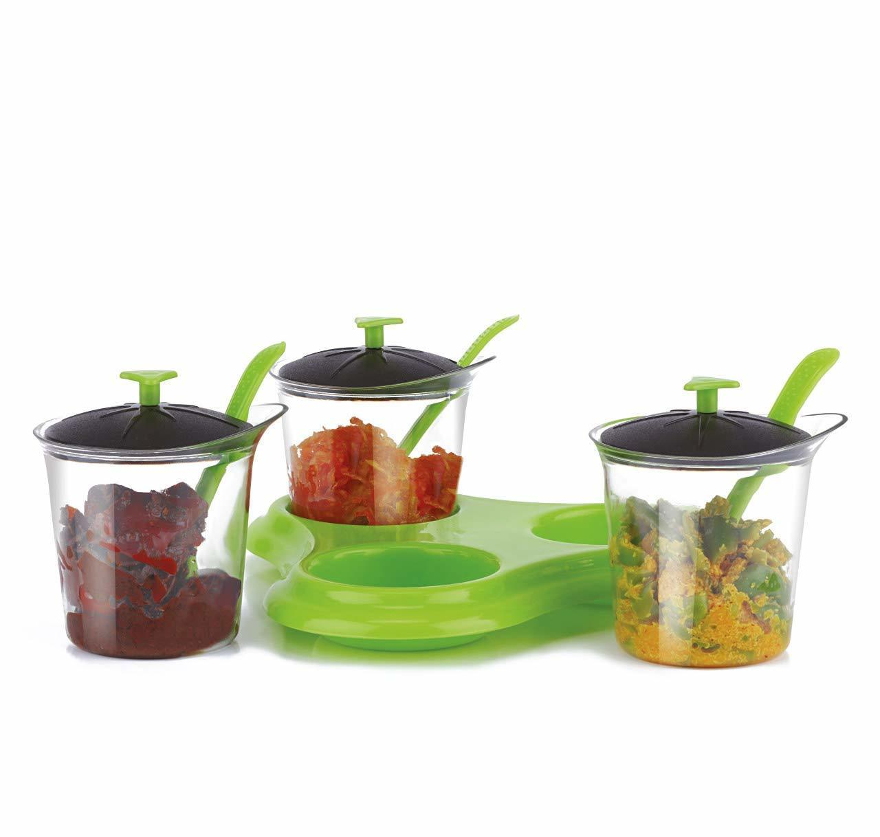 3 piece Condiment sets Container with Designer Stand & Spoon 3 Piece Condiment Set aachar rack pickle jar set