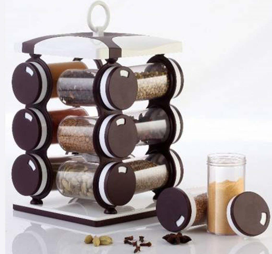 12 in 1 Revolving Spice Racks for Kitchen (Brown)