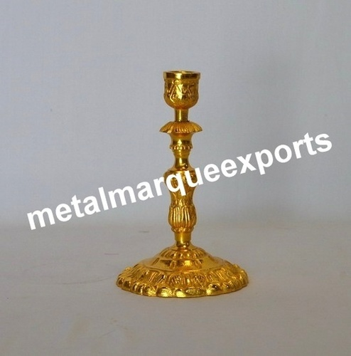 Aluminum Gold Plated Embossed Candle Holder