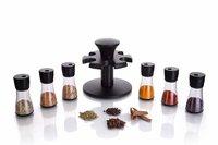 Premium 6 Piece Multipurpose Revolving Plastic Spice Rack Storage Jar Condiment Set (Black)